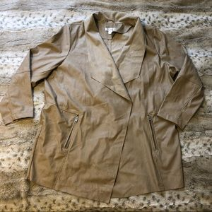 CJ Banks Tan Faux Leather and Suede Jacket